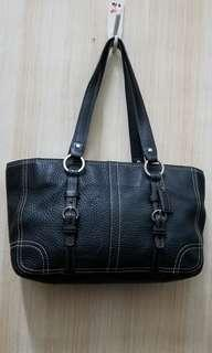 COACH Chelsea Zip Tote Handbag in Black Pebbled Leather