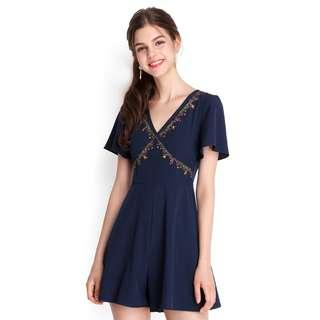 LF> Lily Pirates Playful Personality Romper in Navy / Midnight Blue