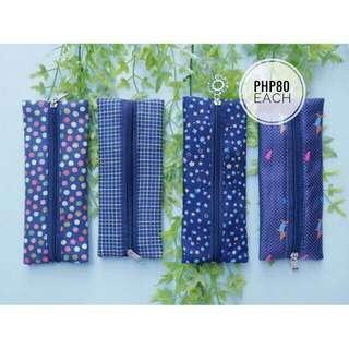 Fabric pen case - blue collection