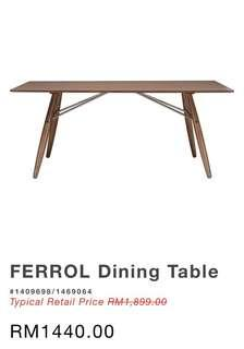 NESTHOUZ Ferrol Walnut Dining Table (Scandinavian)