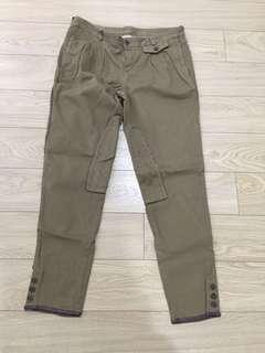 Massimo Dutti Military Dark Olive Brown Utilitarian Cropped Pants