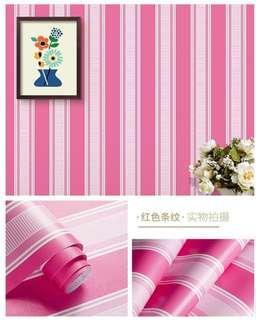 Wallpaper Dinding Motif Pink Stripe