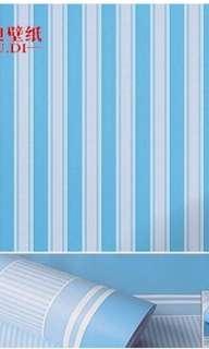 Wallpaper Dinding Motif Blue Stripe
