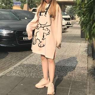 H&M Snoopy Long Hooded Loose Dress