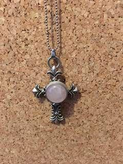 Ball chain necklace with Celtic cross pendant and snap charm. Choice of snap charm; can send photos.