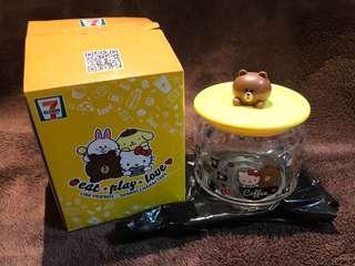 全新 7-11 Line Friends X Sanrio Characters 樽樽滿JOY 玻璃樽系列 Brown 熊大 咖啡玻璃樽