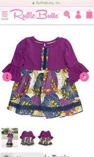 美國🇺🇸Ruffle butts紫色喇叭袖上衣(6m-12m)