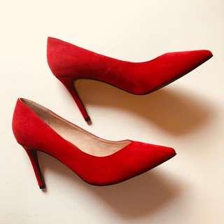 New Jo Mercer red suede leather point pumps heels 36 5.5 6 $160
