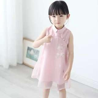 Pink Chiffon Cheongsam Dress / CNY dress / kids Cheongsam / toddler children kids Cheongsam qipao CNY / pretty chiffon dress for girls and babies