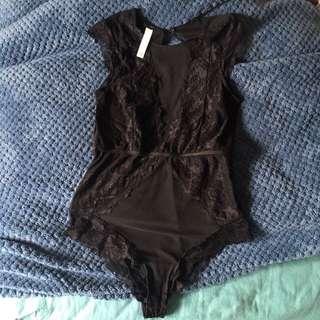 glassons mesh x lace black bodysuit