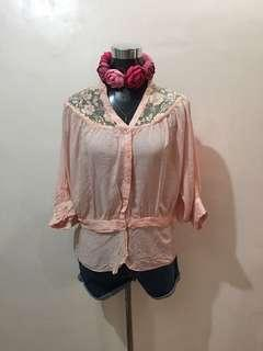 Blush Pink Blouse Medium