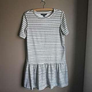 SMALL black and cream striped tshirt dress
