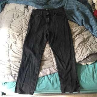 glassons side split denim mom jeans