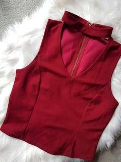 Burgandy fitted top with choker