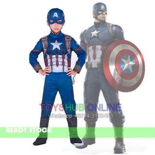 Captain America Muscle Kids Children Costume with Cloth Mask