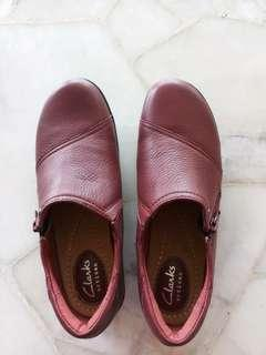 (NEW) Clarks - leather shoe (Maroon red)