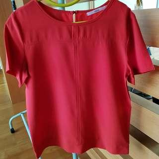 Red Crepe Fabric with Keyhole Back Top