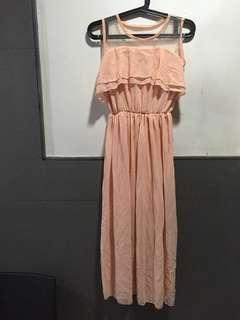 Blush Flowy Midi Dress