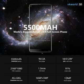 VKworld S8, 4GB+64GB, Dual Back Cameras, Face & Fingerprint Identification, 5500mAh Battery, 5.99 inch Full Screen Android 7.0 MTK6750T Octa Core up to 1.5GHz, Network: 4G, Dual SIM