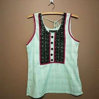 MEDIUM Mint green top with black and pink details