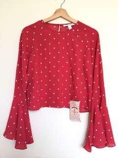 FOREVER21 SUPER CUTE POLKA TOP