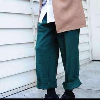 Plain-me 羊毛鬆身寬管長褲