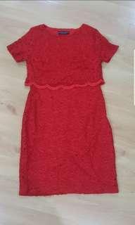 Dorothy Pwekins Red Lace Dress (UK12) SALE