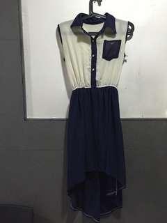 Navy blue/White Sleeveless High-Low Dress