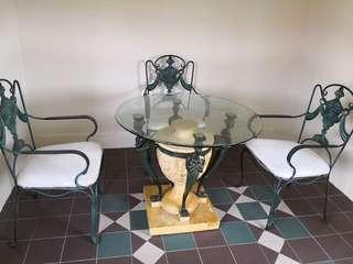 Vintage glass tables and chairs