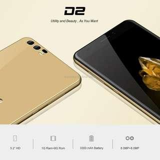 BLUBOO D2, 1GB+8GB, Dual Back Cameras, 5.2 inch Android 6.0 MTK6580A Quad Core up to 1.3GHz, Network: 3G, WiFi, GPS, Bluetooth, Dual SIM