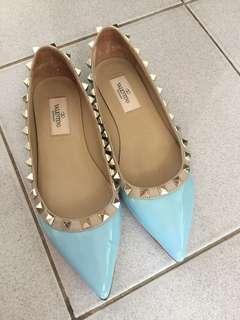Authentic valentino Rockstud pastel blue ballerina shoes