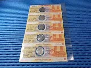 5X 1990 Singapore 25 Years of Independence $50 Commemorative Note B 105431 - 105435 Run ( Lot of 5 Pieces )