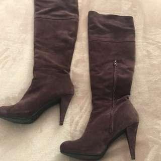 Italian suede knee high boots
