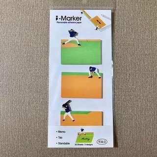🚚 運動棒球便利貼-一包三款 (九成新)