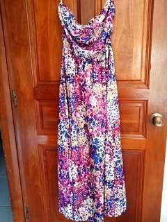 Supre print floral maxi dress purple/blue strapless