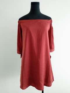 Brick red off shoulder mini dress/ long top