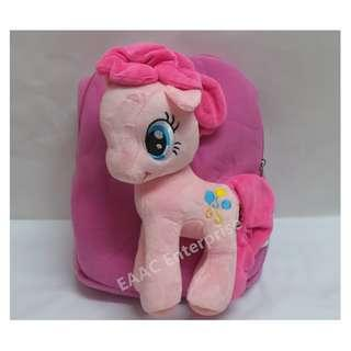 3D Cute Pony Pink Cartoon Backpack Bag School Tuition Shopping Bag