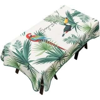 Colourful Forest Toucan Parrot Table Cloth, 森林鸚鵡大嘴鳥彩圖枱布