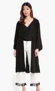 Black Embroidered Kimono Cardigan