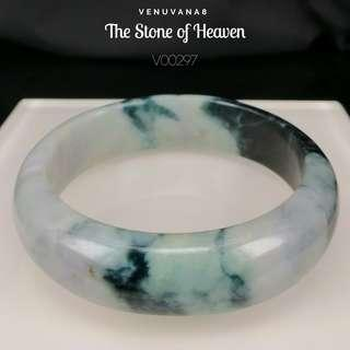 🚚 The Stone of Heaven Burmese Jadiete Bangle(Diameter 60mm Thickness 8mm) -Jadiete is priceless, it is an invaluable stone that is being highly respected and admired since ancient time until today.