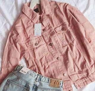 pink oversized jacket jeans denim