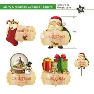 Merry Christmas Cupcake Toppers