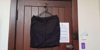 Black drawstring tie pocket skirt