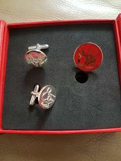 Coca Cola 80 years(1927-2007) Sterling Silver Cuff links, metal tie pin