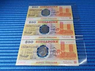 3X 1990 Singapore 25th Anniversary SG25 $50 Commemorative Note B 105373-105375 Run