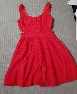 Red cutout skater dress