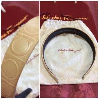 original, pre-loved salvatorre ferragamo leather logo headband- beige