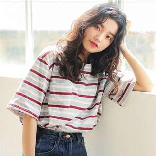 [PO] Casual Stripped Oversized Tee