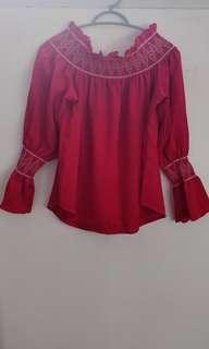Red off shoulder long sleeve blouse