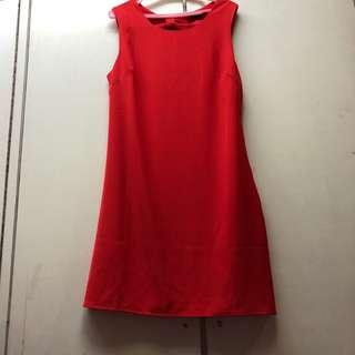 ZALORA Red Dress with Bow detail on the back